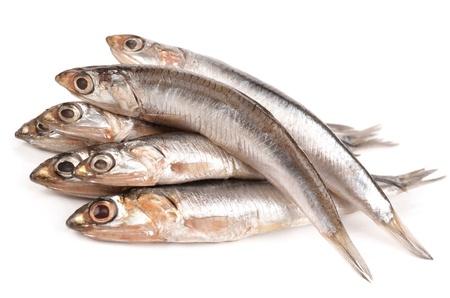 fish vendor: anchovy Stock Photo