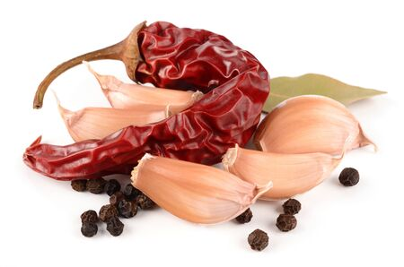 Garlic, peppers and spices Stock Photo - 18545058