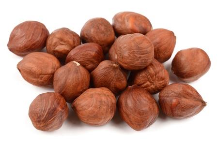 Hazelnuts on a white background Stock Photo