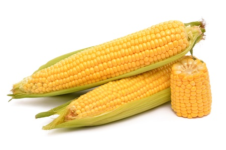 sweet corn: Corn on a white background