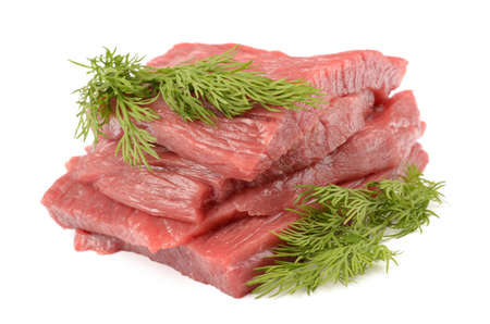 circular muscle: Veal on a white background Stock Photo
