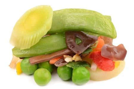 Sliced   8203;  8203;vegetables on a white background