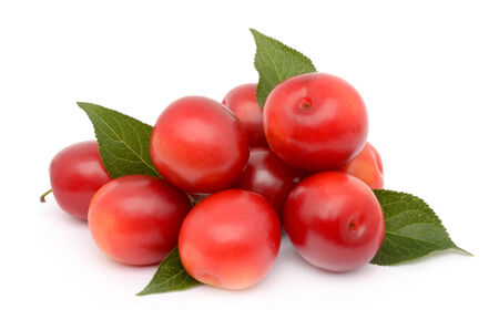 alycha: Plums on a white background