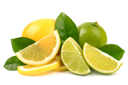 lime slice: lime and lemon on white background