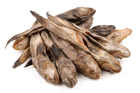 Dried bullheads on a white background Stock Photo