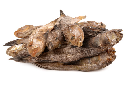 bullhead: Dried bullheads on a white background Stock Photo