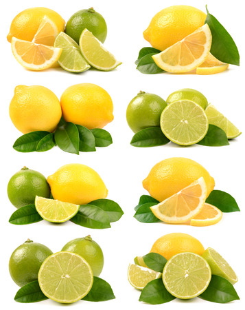 lemon slices: lime and lemon on white background