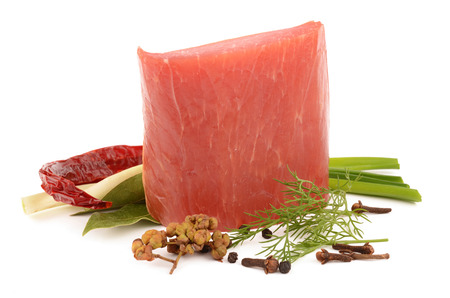 Ham and spices 스톡 사진