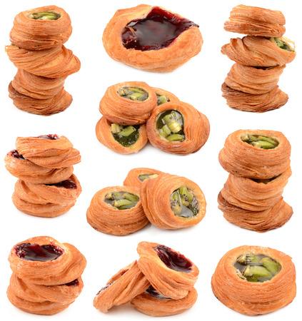 danish puff pastry: freshly cooked puff pastry stuffed Stock Photo