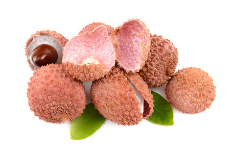 lychees: lychees on a white background