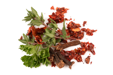 spices on white background photo