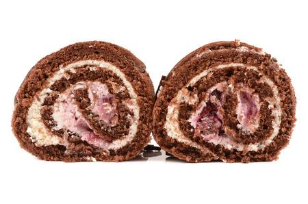 chocolate roll with cherries photo