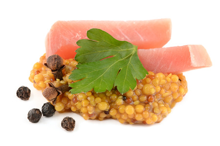 wholegrain mustard: meat and mustard Stock Photo