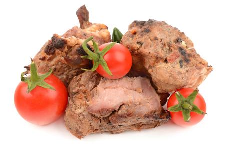 the shish kebab: shish kebab on a white background Stock Photo