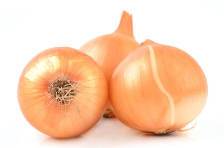 bulb and stem vegetables: Onions on a white background