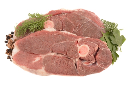wholesome: fresh and wholesome mutton on a white background Stock Photo