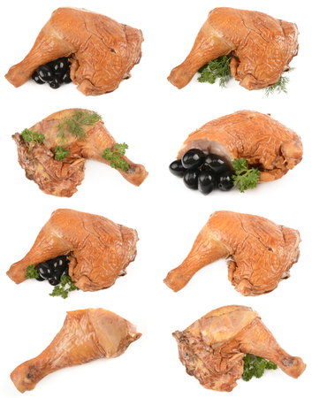 collection of smoked chicken on a white background isolated