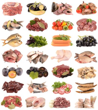 veal sausage: collection of delicious and fresh food isolated on white background