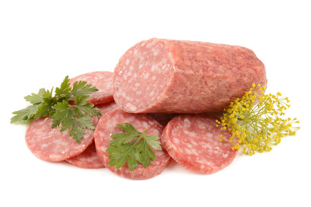 dry sausage: Salami on white background Stock Photo
