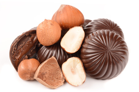 ailment: chocolate candy with filling isolated on a white background