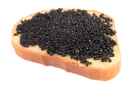spawn: isolated fresh black caviar on white background