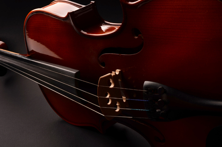 Violin on black background