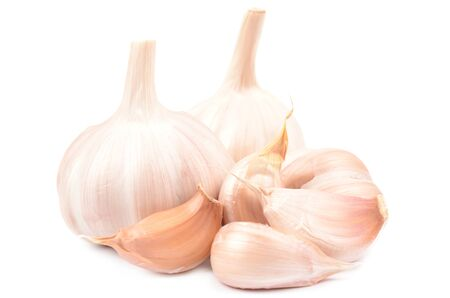 Isolated fresh garlic on a white background