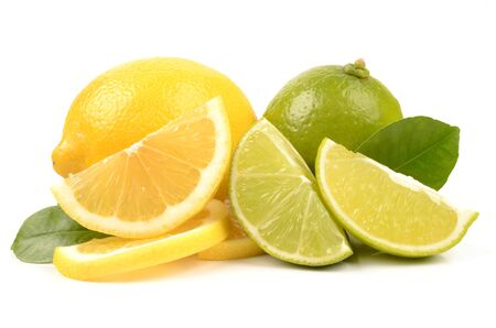Juicy lime and lemon isolated on a white background Stock Photo