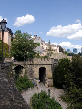 ancients: travel to Europe, Luxemburg, ancients wall and modern buildings