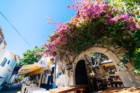 Streets of europe,Turkey.Alacati and Cesme,pink flowers