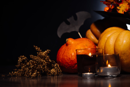 Several decorated pumpkins in the style of Halloween on a black background