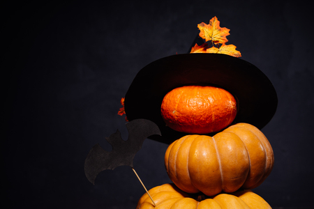 Halloween pumpkin on a black background. Halloween holidays art design, celebration. Halloween Pumpkins with a witch hat and a bat.