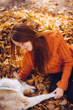 long-haired red-haired girl in a fashionable sweater plays with her big gray dog