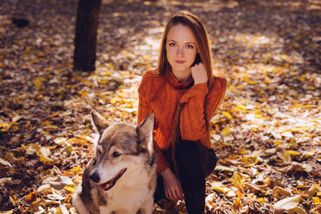 play the old park: a young red-haired girl sits in a fallen fall foliage along with her dog