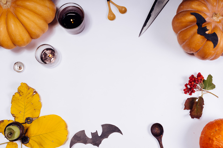 a lot of scenery for Halloween lie on the table Stock Photo