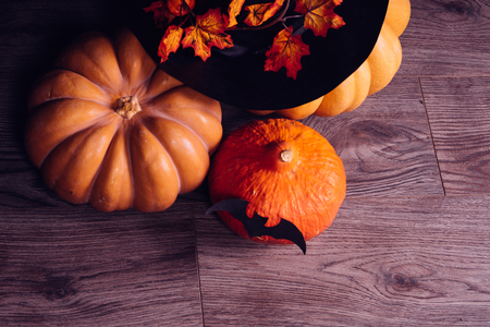 Several small Halloween pumpkins lie on the table Stock Photo