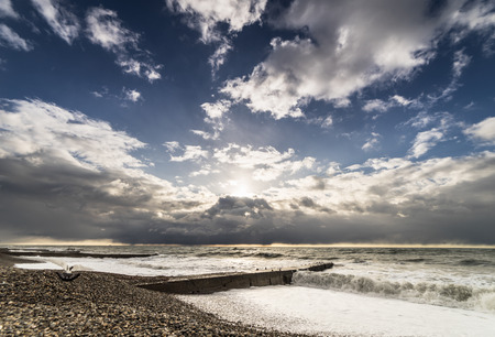 beautiful view of nature, wild nature, cloudy sky, seashore, waves