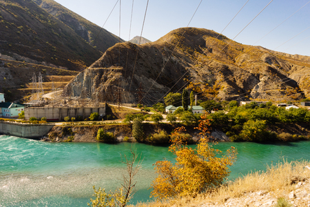 inspiring nature, the Caucasus mountains and turquoise water of a mountain lake