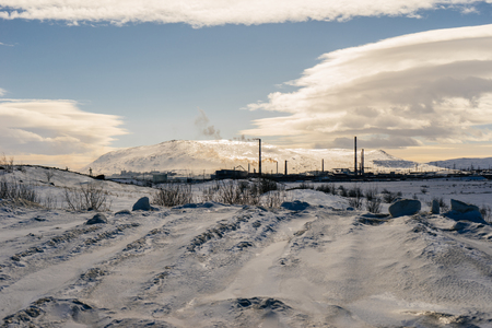 in the far cold north, winter weather, blue skies and white clouds Stock Photo