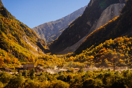 inspiring nature, warm weather and sun, Caucasian mountains and a lot of greenery 写真素材