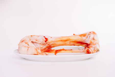 on white background in a white plate is a bloody bone