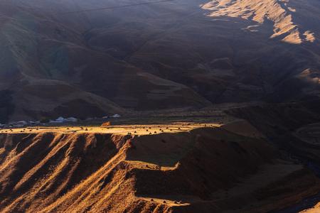 very beautiful mountain landscape on sunset background