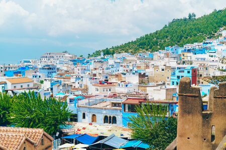 luxurious blue city view from above morocco Stock fotó