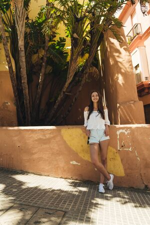 cross-legged girl stands at a stone fence, summer, she is dressed in shorts and a blouse Banco de Imagens