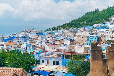 Top view of a blue city in Morocco