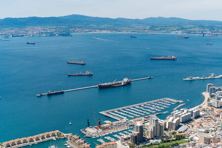 Gibraltar top view of the strait, ships and coastal strip