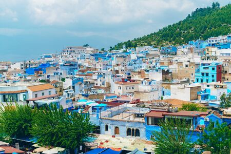 scenery. view of the blue city of morocco from above