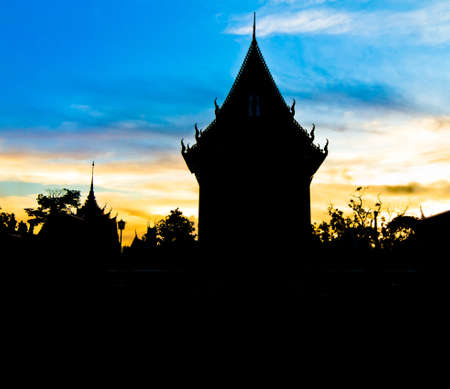buddhist temple in thailand at twilight. Stock Photo