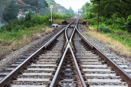 Railroad tracks at sunset. photo