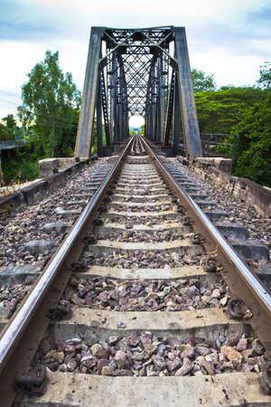 Railroad tracks at sunset. Stock Photo